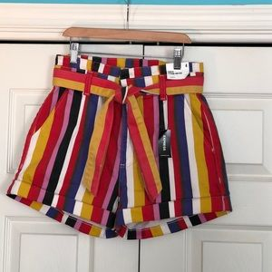 Express colorful striped shorts.